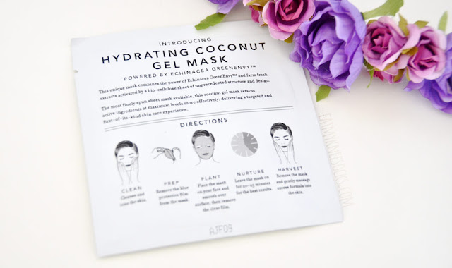 The hydrating coconut gel facial masks from Farmacy are easy to use, with two layers of protective film. Use for 20-25 minutes, then remove and you're done!