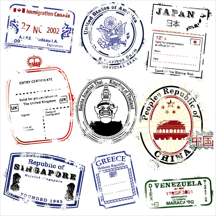 世界各国の郵便消印 postmarks vector in several countries イラスト素材