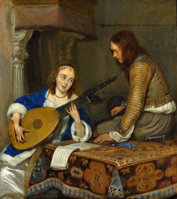 Gerard ter Borch - Woman Playing the Theorbo-Lute and a Cavalier (1658)