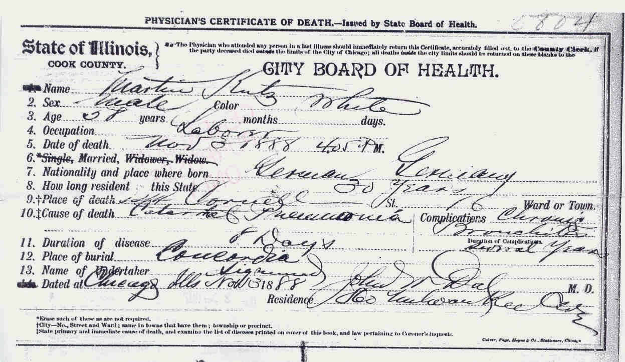 My ancestors leaves april 2014 death certificate copy in my files for martin kutz ordered from cook county il and received july 2007 1betcityfo Image collections