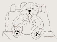 risco para pintar ursinho sentado na cama