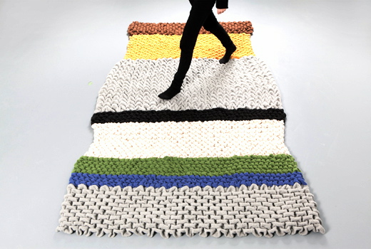 smok rug by hans sapperlot color block green yellow gray off white floor covering quilted wool