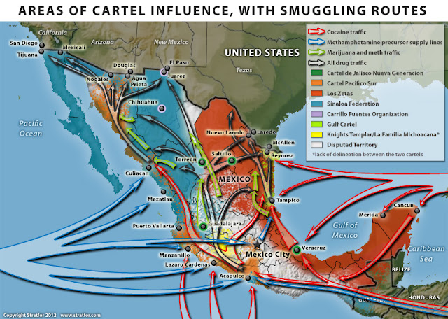 An excellent map from Stratfor shows the current territorial areas.