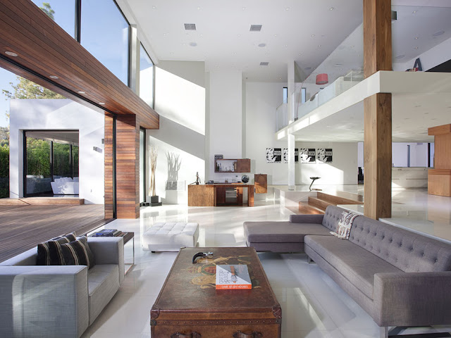 Photo of large open living room interiors