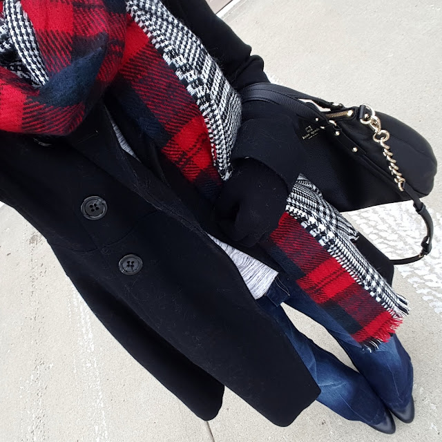 Guess Coat (similar - 35% off!) // Gap Heathered Tee (similar) // 7 For All Mankind Dojo Jeans // ILY Couture Scarf - only $14, regular $38! // Jessica Simpson Addey Boots - 45% off! // Kate Spade Pine Street Small Kori