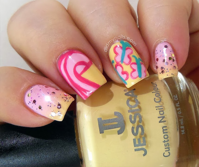 My Little Pony Fluttershy nail art