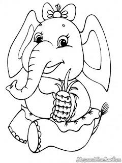 Mewarnai Gambar Gajah Lucu