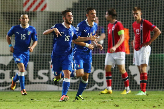 Italy U-21 player Andrea Bertolacci celebrates after scoring the equalizer against Norway U-21