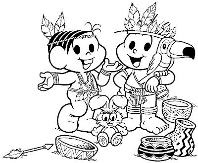 Desenho da Dia do Índio/ Turma da Mônica para colorir