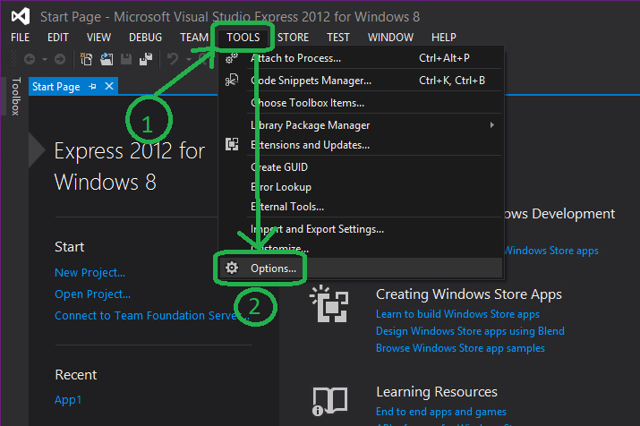 Access the options in Visual Studio Express 2012