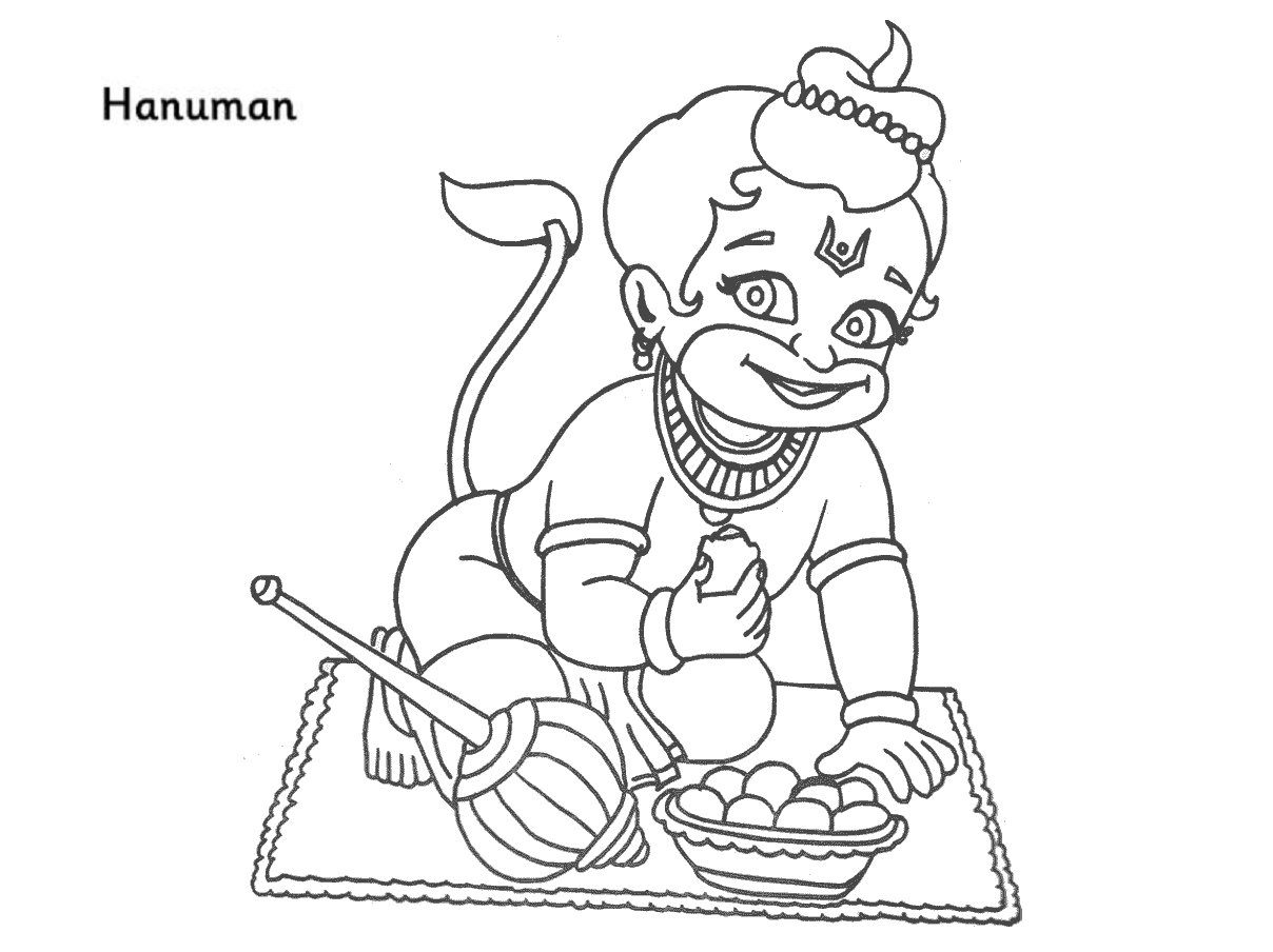 Colour Drawing Free HD Wallpapers Lord Hanuman Coloring Page Free Wallpaper