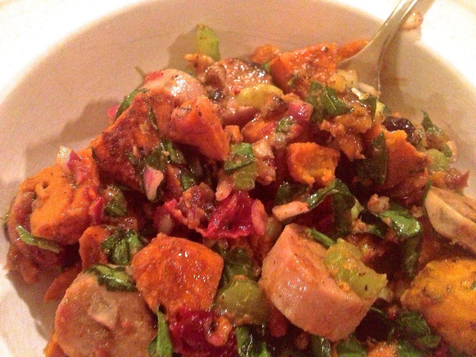 the preppy paleo: Roasted Sweet Potato Salad w Cranberry Vinaigrette