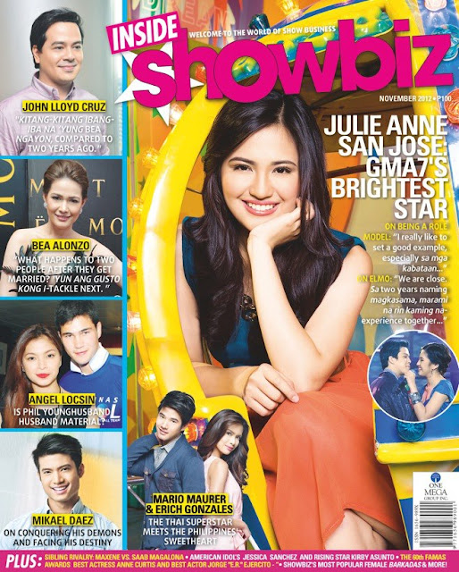 Julie Ann San Jose Covers Inside Showbiz Magazine November 2012 Issue plus juicy news about Angel Locsin and Phil Younghusband, John Lloyd and Bea, and Mario Maurer and Erich Gonzales