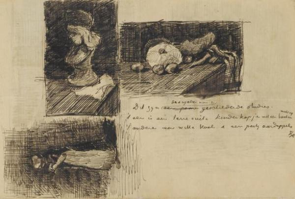 Still Life With Cabbage and Clogs Letter Sketch by Vincent van Gogh