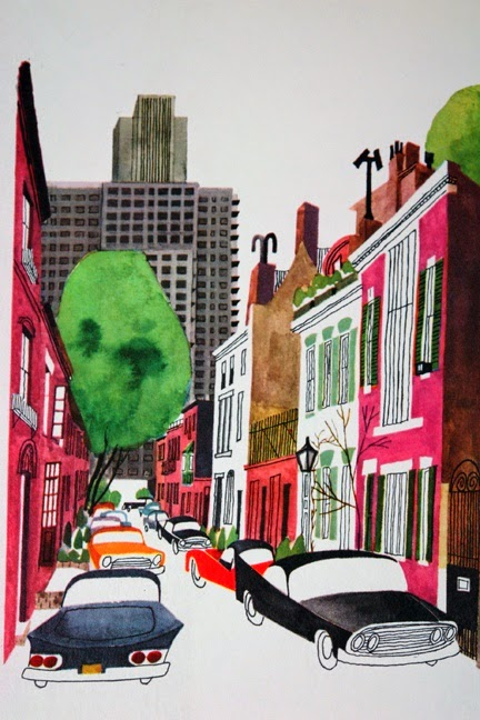 cars parked in a city street illustration by Miroslav Sasek