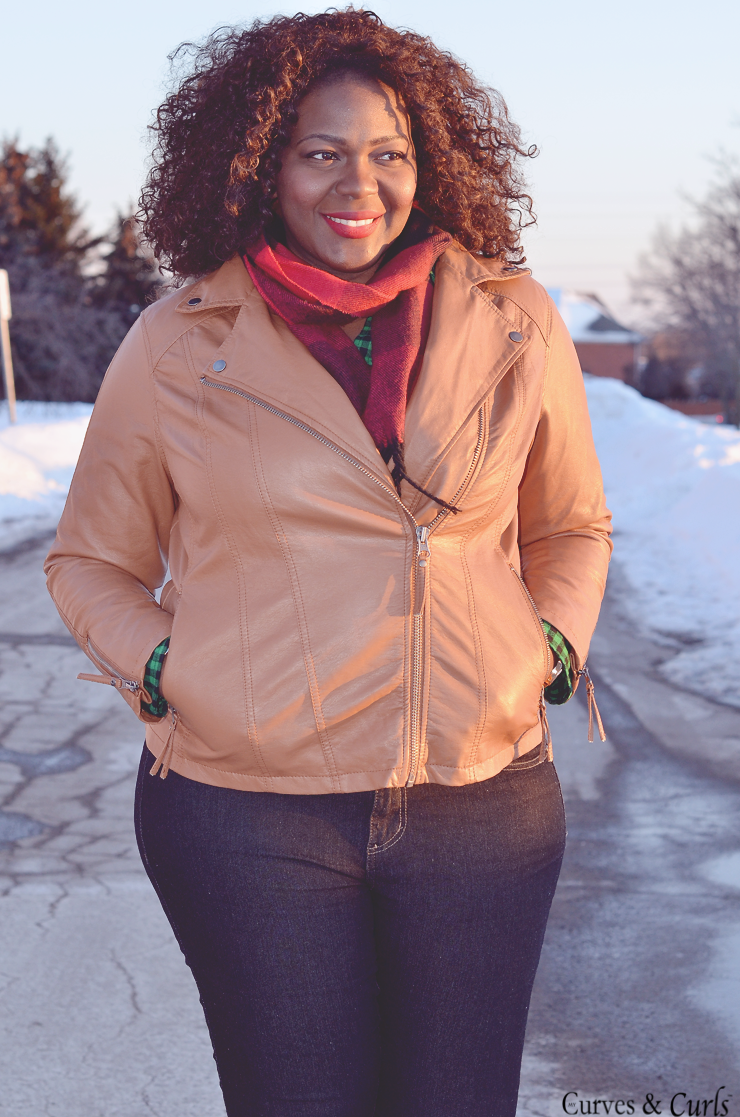 how to wear- Brown/ cognac leather jacket plus size