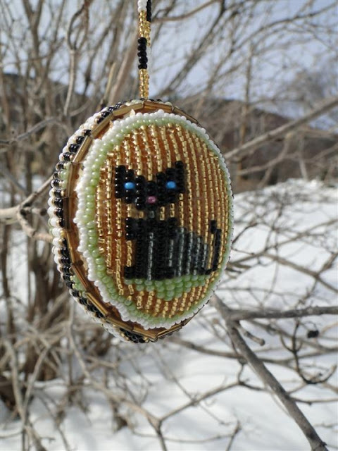 Kitty-Cat Beaded Easter Egg, made in Ukraine