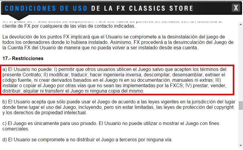 Restricciones en la licencia de los productos de FX Classics Store