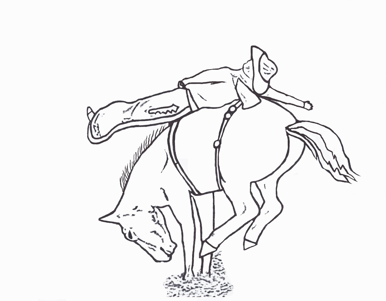 Rodeo coloring pages bareback rider color page by dancing for Bucking bull coloring pages