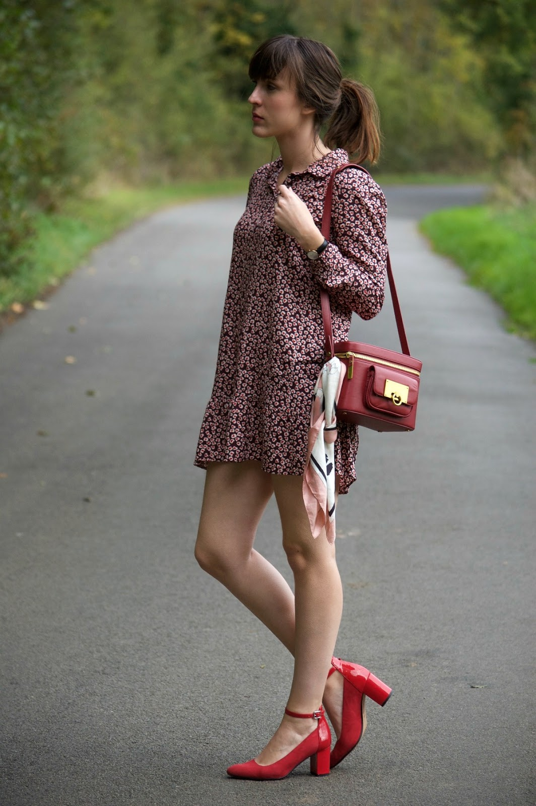 printed shirt dress and clarks blissful bee
