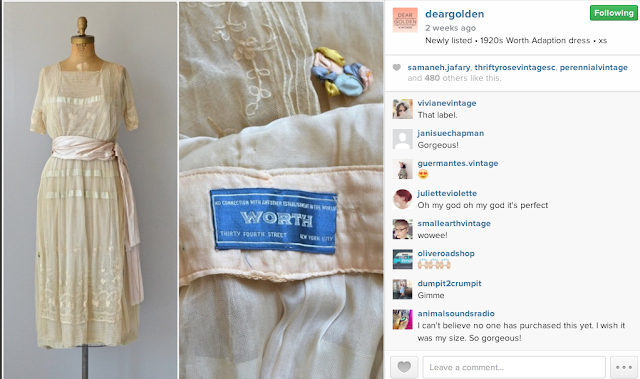Screenshot of an Instagram post, showing a vintage dress and a close-up of a label.
