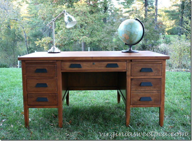 refinished desk, staining wood, restore, diy, how to refinish a desk
