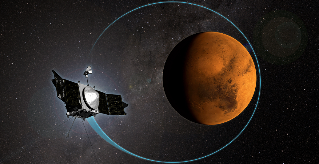 This artist's concept shows NASA's MAVEN mission, the first mission devoted to understanding the Martian upper atmosphere, completed 1,000 orbits around the Red Planet on April 6, 2015. Image Credit: NASA/Goddard