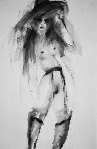 Fiona Maclean pinturas sensuais minimalistas borradas aquarela mulheres nuas