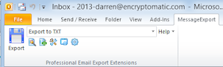 Start exporting Outlook emails to txt by clicking Export