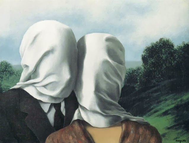 magritte, the lovers, the lovers II, painting, pentimento, zwartjes, film, bedsheet,