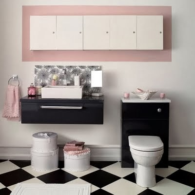 Pretty Bathroom with Black and White Bathroom Flooring Ideas