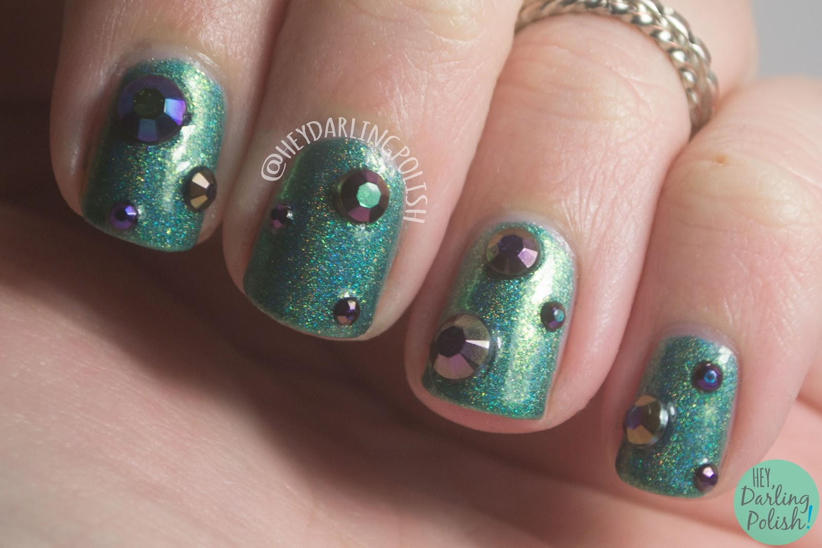 nails, nail art, nail polish, lynbdesigns, born pretty store, rhinestones, holo, hey darling polish