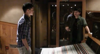 Greyson Chance and Evan Johnson at Westlake Studios in L.A.