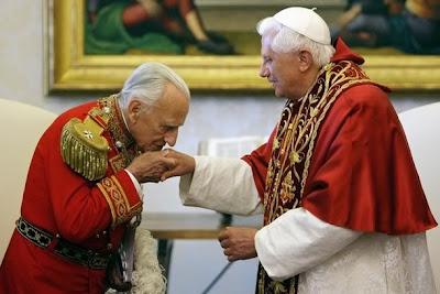 Pope Benedict XVI meets Knights of Malta Grand Master Fra Andrew Bertie during a mass celebrated at the Roman Hospital San Giovanni Battista of S.M.H.O in Rome