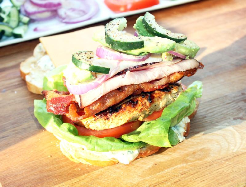Creole Contessa: Greek Chicken California Club Sandwich with Feta Mayo