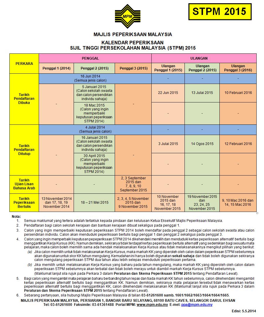 Kalendar Peperiksaan STPM 2015 Exam Calendar