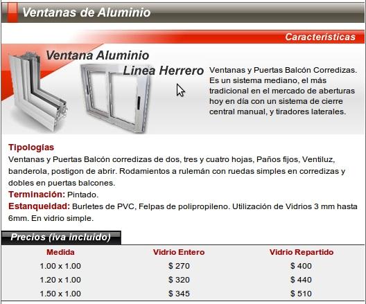 Nuevo santiago aberturas s r l nsa puertas y ventana for Aberturas de aluminio precios y medidas