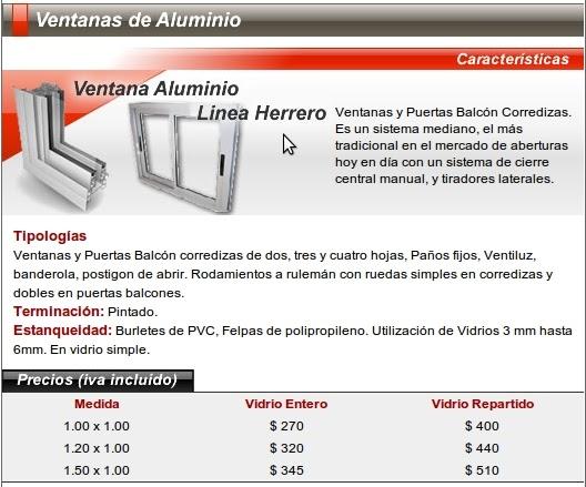 Nuevo santiago aberturas s r l nsa puertas y ventana for Precio ventanas aluminio a medida