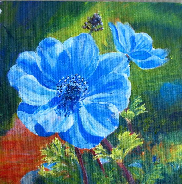 Marion 39 s floral art blog blue anemone acrylic painting for Floral acrylic paintings