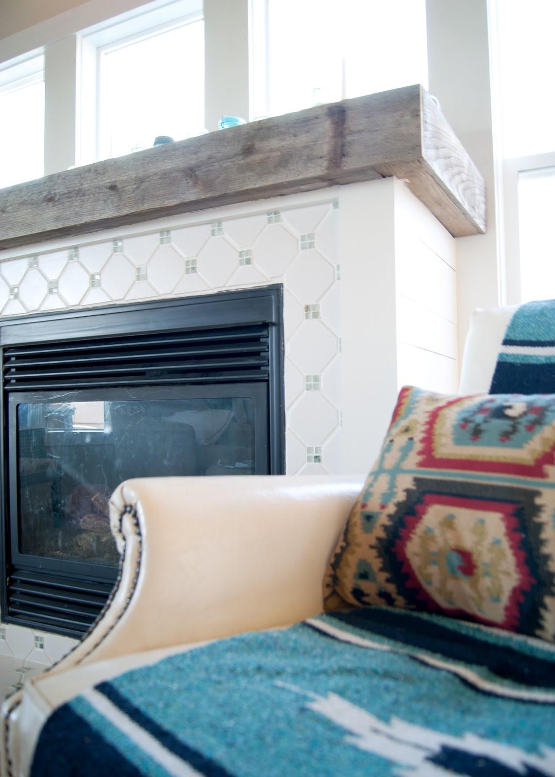 Fireplace, horse blanket, reclaimed wood