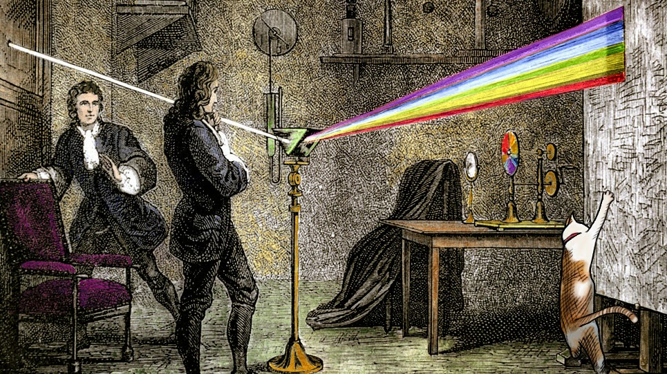 Isaac Newton white light spectrum optics cat chloe Cosmos Josef Spalenka