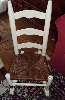 Eclectic Red Barn:  Jute seat child's rocker painted vintage white with amber lacquered seat