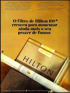 propaganda cigarros Hilton 100 - 1973. Reclame cigarros década de 70