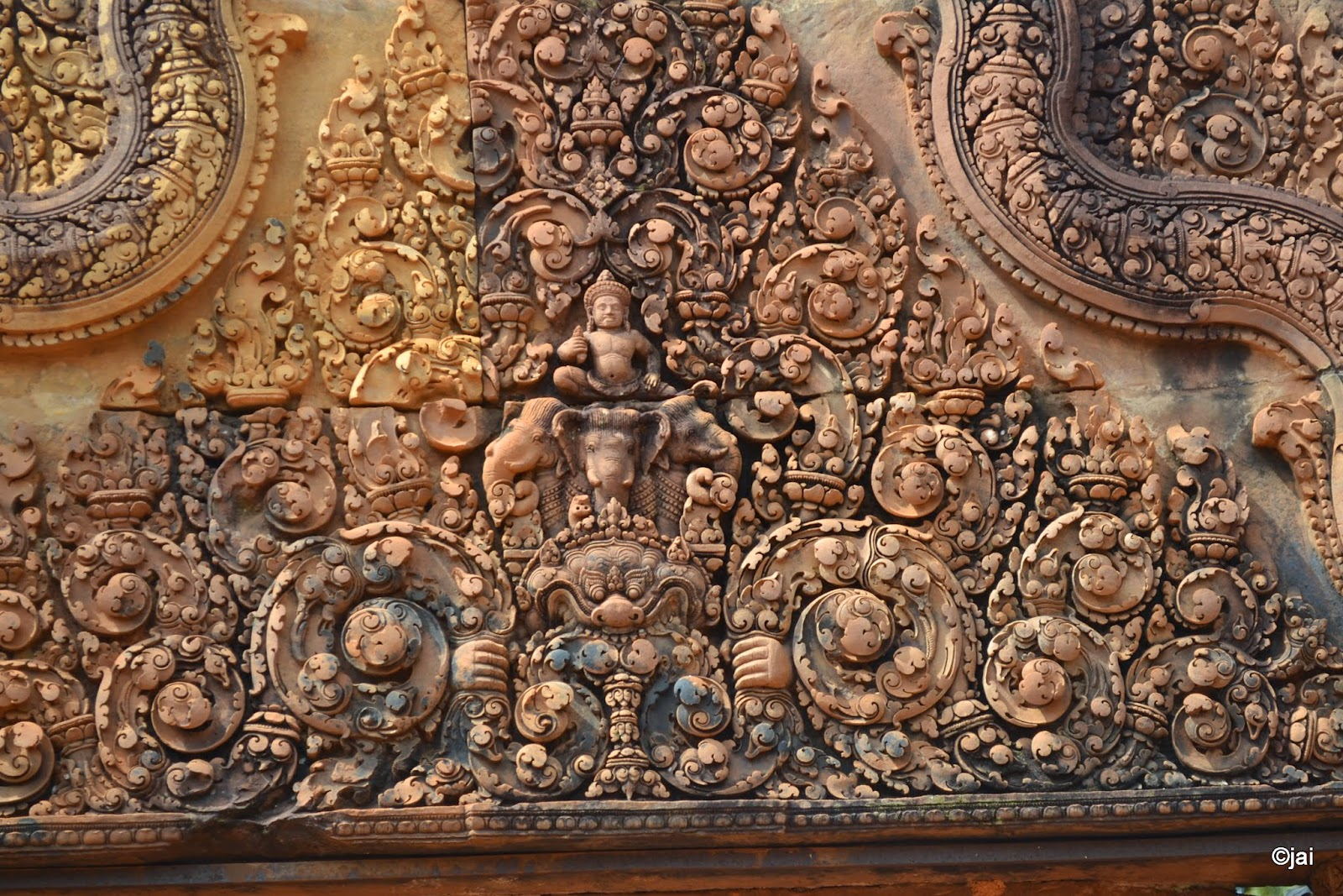 sculpure above the gate of Banteay Srei or Banteay Srey at Angkor, Cambodi