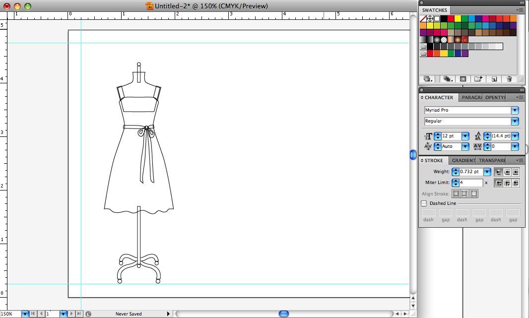 Designer Mannequin Drawing to Create a Sun Dress Bridal