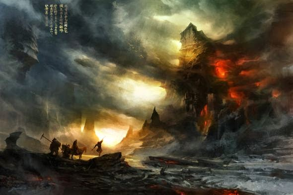 Wenjun Lin illustrations fantasy violence wars battles The flaming mountain