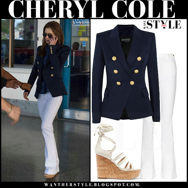 Cheryl Cole in navy gold button balmain blazer and white flared jeans frame denim le high patch tamara mellon yosemite what she wore