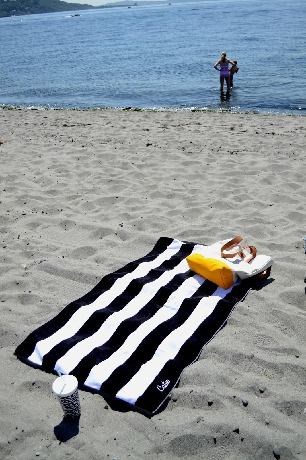 stripes, golden gardens, beach, sun, summer, swimming, tarboo, tote bag, seattle