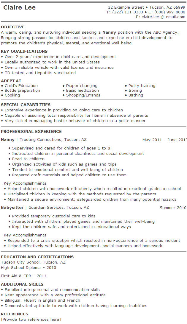 Best Nanny Resume Pictures to Pin PinsDaddy – Nanny Resume