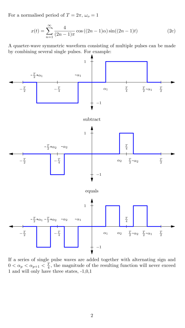 Harmonic Elimination PWM Equations